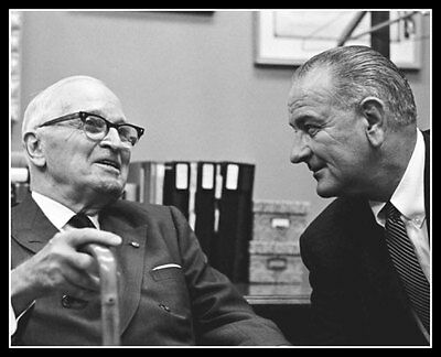 Lyndon Johnson Harry Truman Photo 8X10 President Closeup 1965