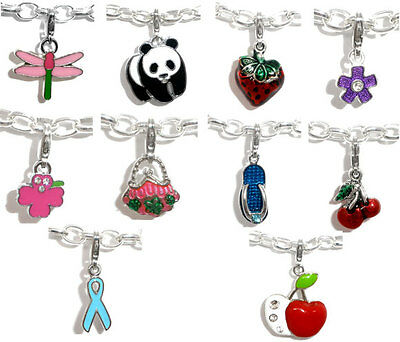 10 PCs Mixed Clip On Enamel Charms. Fits Link Chain Bracelet