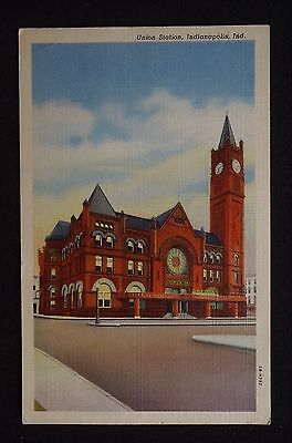 1943 Union Station Railroad Indianapolis IN Marion Co Postcard