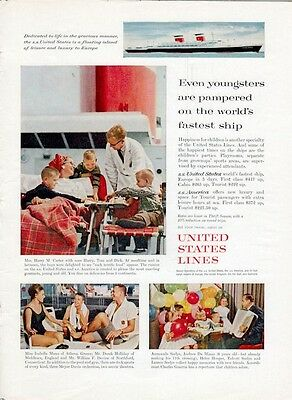 1961 United States Lines Cruise Ship  Eating Swimming Party PRINT AD