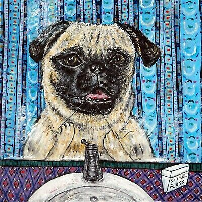 PUG flossing bathroom art tile coaster gift gifts dog artwork modern