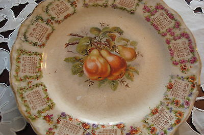 Carnation Mc Nicol calendar plate 1909, decorated with transfer fruits