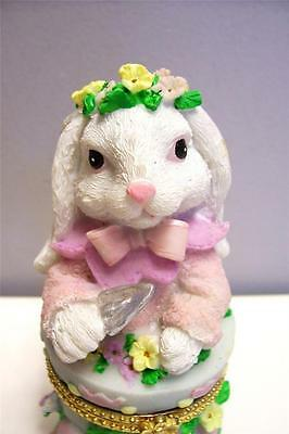 Easter Rabbit In The Garden Trinket Box