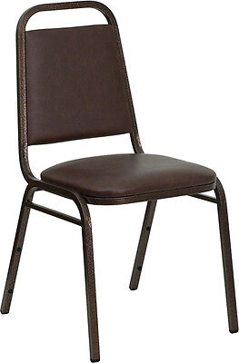 4 Brown Vinyl Banquet Conference Copper Vein Steel Frame Stack Chairs