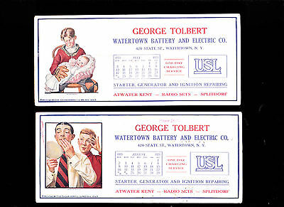 George Tolbert Watertown NY Battery & Electric Co lot of blotters- 1925
