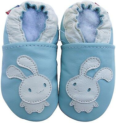 carozoo bunny light blue 6-12m soft sole leather baby shoes