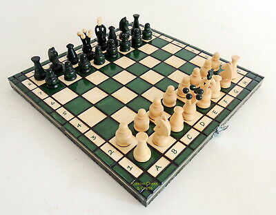 Brand New Hand Crafted Kingdom Wooden Chess Set 31Cm / 12 Inches Green