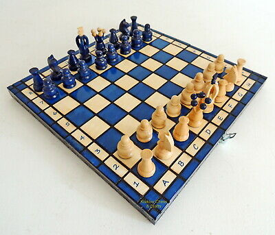 BRAND NEW HANDCRAFTED KINGDOM WOODEN CHESS SET 31cm / 12 inches BLUE
