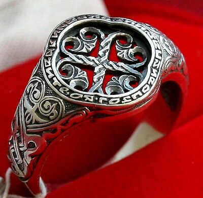 Old Style Sterling Silver Russian Orthodox Prayer Ring. Cross Symbol. Strong !!!