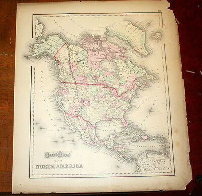 Antique North America or Central  & West Indies Map 1873 Gray's Atlas Color