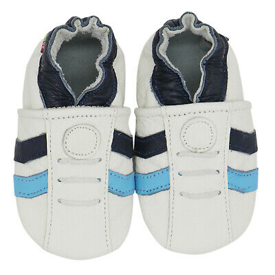 carozoo sports white blue 0-6m C1 soft sole leather infant baby shoes