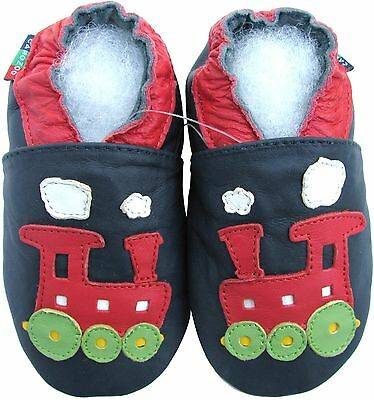 carozoo donkey dark blue 0-6m S soft sole leather baby shoes