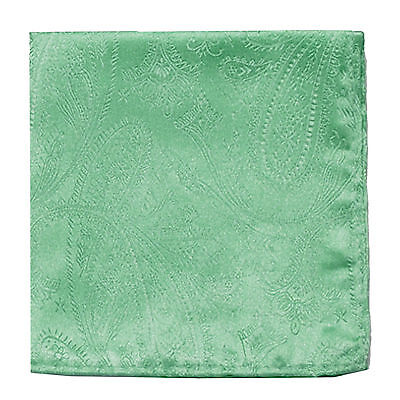 New Men's Polyester Woven pocket square hankie only aqua green paisley wedding