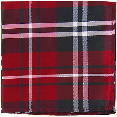 New Men's Polyester Woven pocket square hankie only black red white plaid
