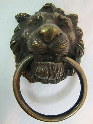 Antique Brass Lion Metal Scarey Hardware furniture pull Ornate High Relief • CAD $220.21