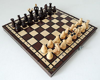 BRAND NEW POLISH ROYAL WOODEN CHESS SET 31cm / 12 inches BROWN