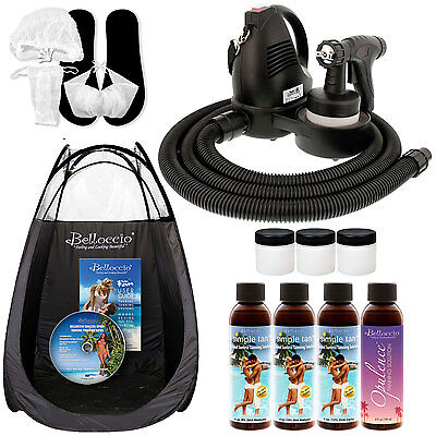 Sunless Airbrush HVLP SPRAY TANNING SYSTEM 4 Simple Tan DHA Solutions Tent DVD