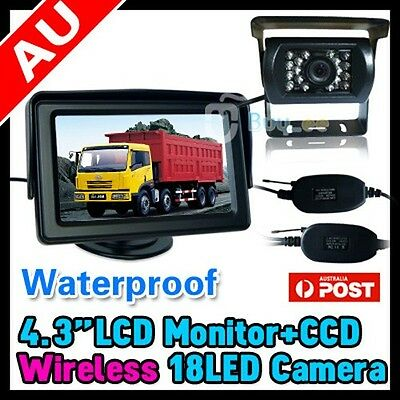 "Wireless Car Reversing Rear View Ir Camera Parking Kit + 4.3"" Lcd Tft Monitor"