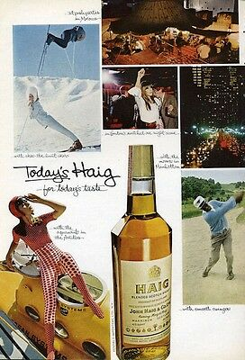 1966 Haig & Haig Vintage Bottle Ski-Golf-Submarine PRINT AD