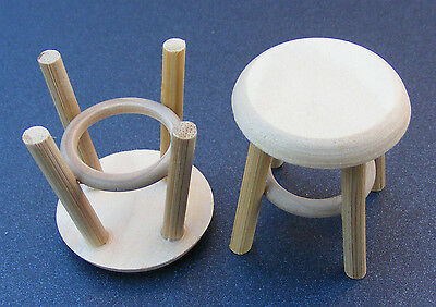 1:12 Natural Finish Stools (2) Dolls House Miniature Furniture Accessory Small S