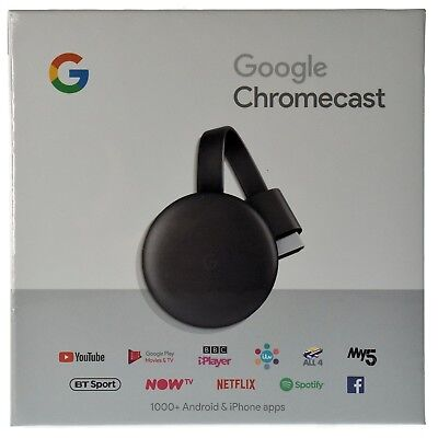 Google Chromecast 3 Digital HDMI Media Video Streamer 2018 Charcoal GA00439-GB
