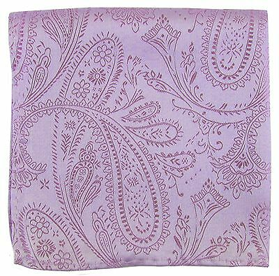 New Men's Polyester Woven pocket square hankie only lavender paisley wedding
