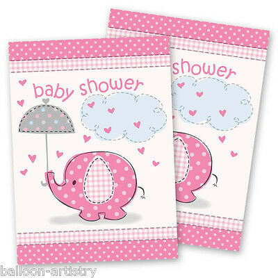 8 Pink Girl's CUTE ELEPHANT Baby Shower Party Invitations plus Envelopes