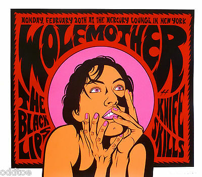 WOLFMOTHER, Orig Concert Poster S/N Justin Hampton, THE BLACK LIPS, Knife Skills