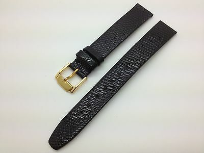 15mm Black Genuine Lizard Hadley Roma Leather Band MS973 fits for Movado Watch