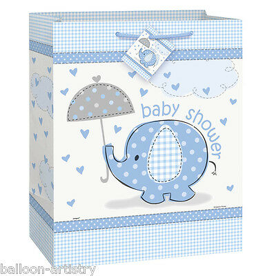 """12.5"""" Blue Boy's CUTE ELEPHANT Baby Shower Party Large Paper Gift Bag"""