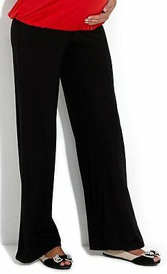 Wide leg black maternity pant with comfort band size 10 to 22