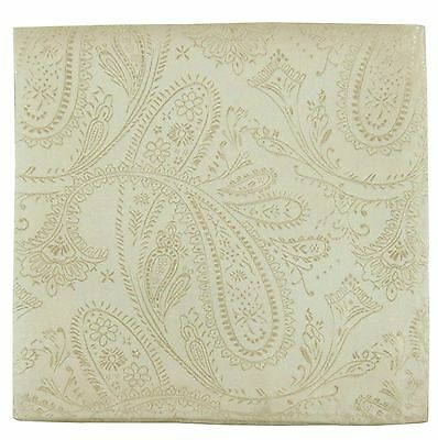 New Men's Polyester Woven pocket square hankie only ivory paisley wedding