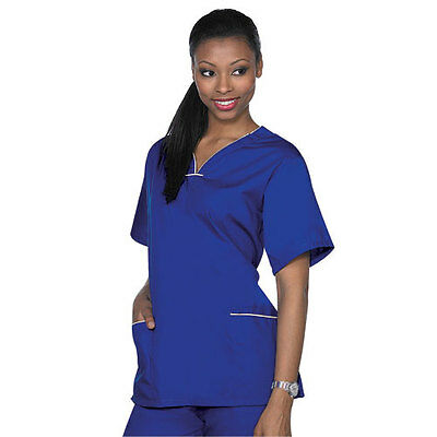 Medical Nursing NATURAL UNIFORMS Contrast SCALLOP Scrubs Set XS S M L XL Women