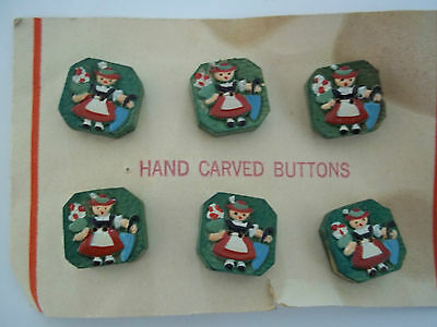 6 Vintage Hand Carved Swiss Girl Look Wooden Buttons - Handpainted - Excellent