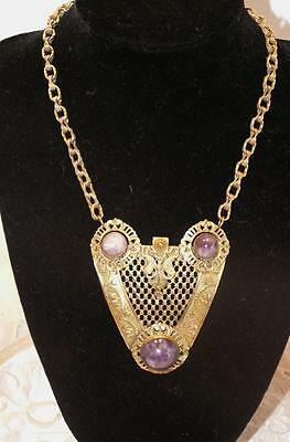 Antique Victorian Arts & Crafts Pinchbeck Amethyst Necklace Rare!