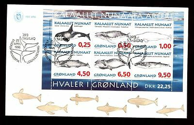 Greenland 1996 Whales M/S FDC  #C8397