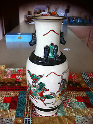 Beautiful Vintage Asian Highly Decorated Samurai theme Vase