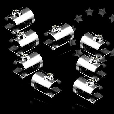 8pcs Zinc Alloy Shelf Support Chrome Plated Bracket Clamps for 6mm Glass G88