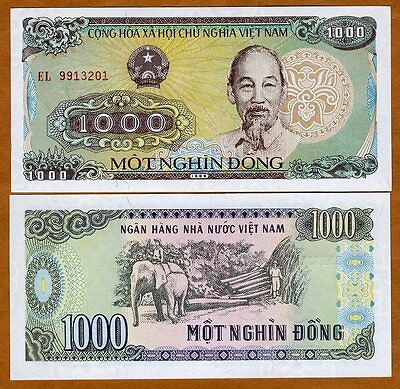 Vietnam, 1000 Dong, 1988 (1989), P-106a, UNC   Ho Chi Minh, Working Elephant