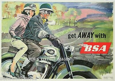 BSA Motorcycle Advertisng Vintage Poster  US England 8 x11 2