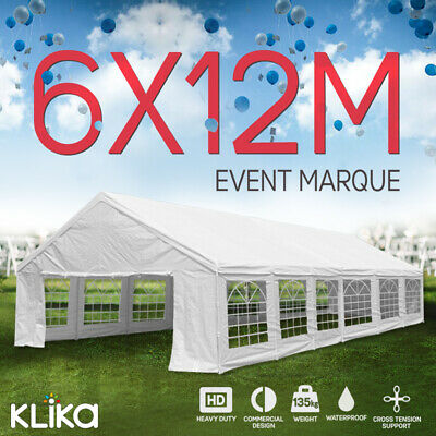 New Huge 12x6 Outdoor Event Gazebo Party Tent Marquee Wedding Canopy Shade White