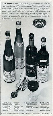 1966 Bertani Wine Various Wines From Europe and Bottles PRINT AD