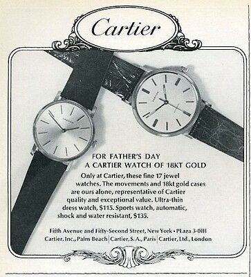 1966 Cartier 18kt Gold Watches 2-models Dress-Sports Watch  PRINT AD