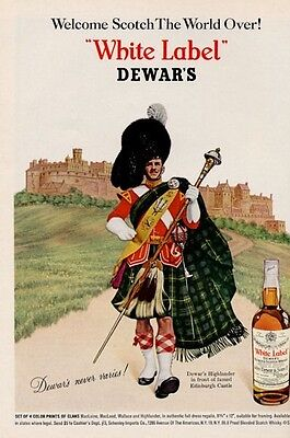 1966 DeWars White Label Scotch Whisky Highlander Dress at Edinburgh PRINT AD