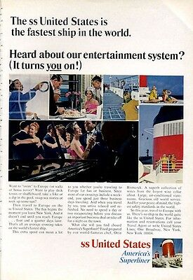 1966 United States Lines Cruise Ship America's Superliner PRINT AD