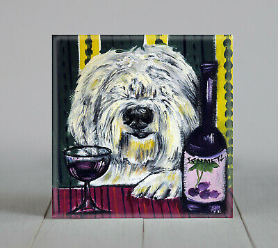old english sheepdog dog at the winebar dog art tile coaster gift