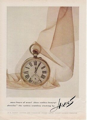 1962 Hanes Stockings Pocket Watch in Nylon PRINT AD