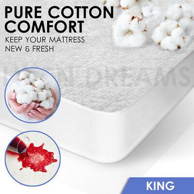 Fully Fitted Terry Cotton Waterproof Mattress Protector Cover - KING SIZE