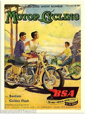 BSA Motorcycle Touring Beach Advertisng Vintage Poster  US England 8 x11 3