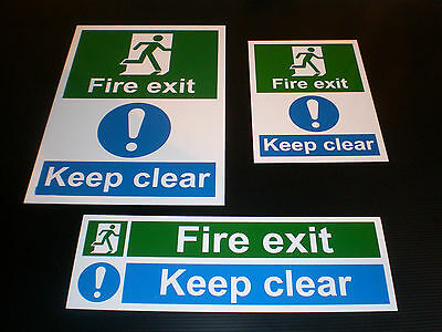 FIRE EXIT KEEP CLEAR sign Plastic , Sticker & Holed ALL SIZES - FREEPOST